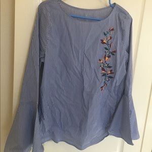 Blue striped bell sleeve embroidered blouse